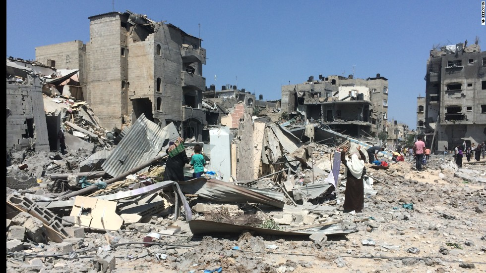 The Gaza neighborhood of Beit Hanoun was severely damaged during several days of intense bombardment.