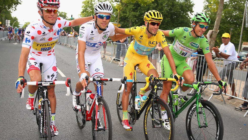 The four main jersey winners at the Tour. Rafal Majka, King of the Mountains, Thibaut Pinot, white for best young rider, Nibali in yellow and Peter Sagan in green.