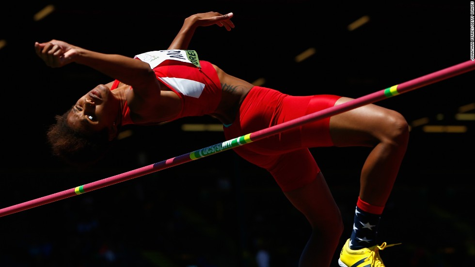 Rachel McCoy of the United States competes in the high jump Friday, July 25, during the IAAF World Junior Championships in Eugene, Oregon. McCoy finished fourth in the event, which was won by Morgan Lake of Great Britain.