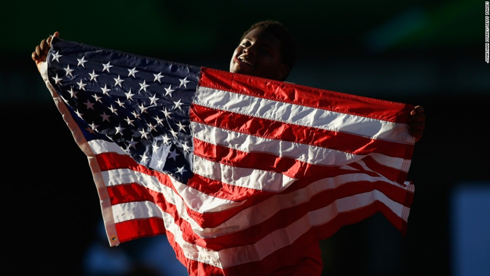 American athlete Braheme Days celebrates Thursday, July 24, after placing third in the men's shot put at the IAAF World Junior Championships in Eugene, Oregon. Poland's Konrad Bukowiecki won the event.