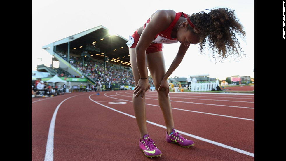 Kaylin Whitney of the United States reacts after winning the 200-meter final Friday, July 25, at the IAAF World Junior Championships in Eugene, Oregon.
