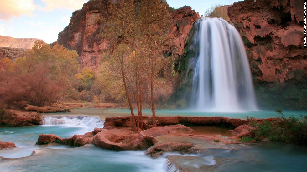 Arizona's Havasu Falls is accessible only by hiking or horseback. The water stays about 70 degrees year-round, making it ideal for a well-deserved dip after the long trek into Havasu Canyon.
