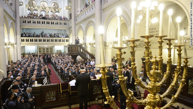A ceremony at Brussels' Great Synagogue on June 2, 2014, following the fatal shooting at the Jewish Museum in Brussels.