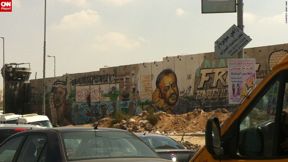 """People leaving West Bank see the massive barrier as they're crossing into Jerusalem, says Naim Naif, who photographed it in 2012. """"This is one of the most viewed parts of the wall because it's right before the checkpoint."""""""
