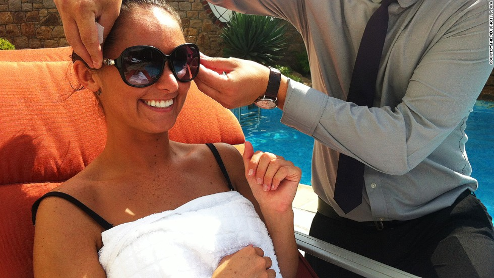 Sunshine butlers at the seaside The Club Hotel & Spa offer poolside services like polishing your Ray-Bans, applying sun-creams and providing mineral water foot misters.