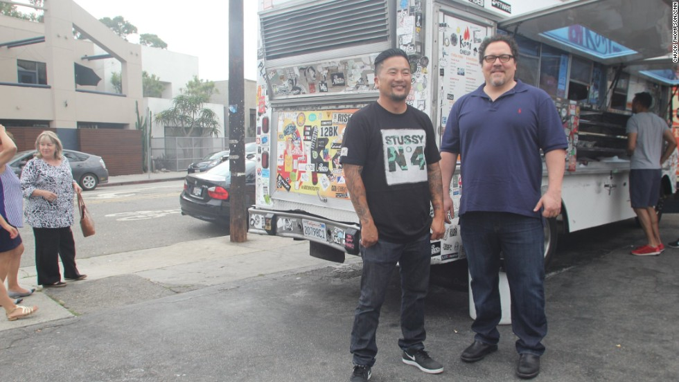 "Before filming ""Chef,"" Favreau (right) sought out consulting help from chef Roy Choi (left), whose Kogi food truck launched a Korean taco phenomenon in 2008."