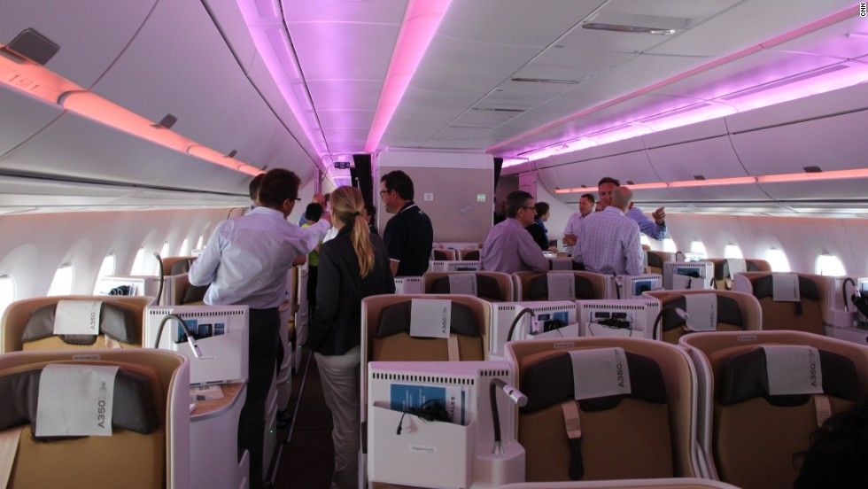 The plane's adjustable LED lighting system has 16.7 million color combinations.