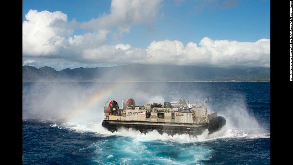 A Landing Craft Air Cushion departs the well deck of the USS Rushmore during an exercise on July 12.