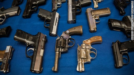 NEW YORK, NY - AUGUST 19:  Guns seized by the New York Police Department (NYPD), in the largest seizure of illegal guns in the city's history, are displayed on a table during a press conference on August 19, 2013 in New York City. The operation, which involved an undercover agent buying guns that were smuggled from North Carolina and South Carolina, yielded over 250 guns. ninteen people have been charged in the operation.  (Photo by Andrew Burton/Getty Images)