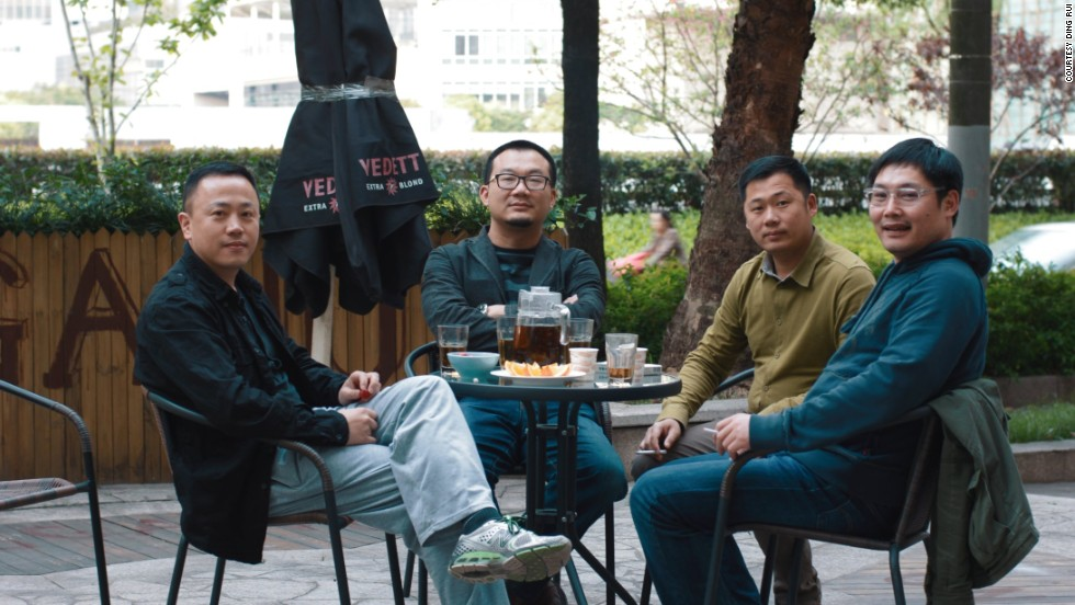 "Founders of the ""Samadhi -- 4D Experience of Death"" project, Ding Rui (far left) and Huang Wei-ping (far right), with the game's two main designers Yu Hong-tao (second from left) and Xu Yang-xin (second from right)."