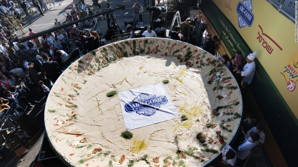 Israelis set the record for the largest plate of hummus in January 2010, cooking some 4,082 kilos of the stuff. A few months later, Lebanon responded with a humongous 10,450-kilo dish.
