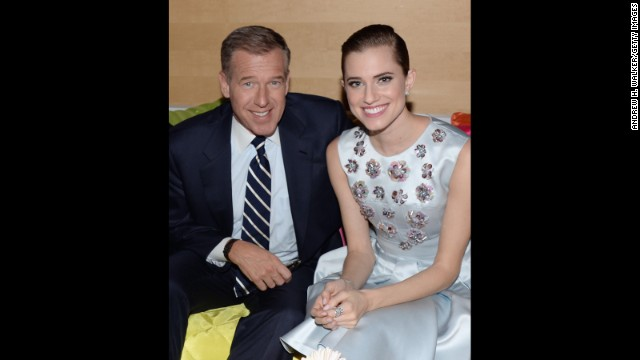 "Brian Williams and Allison Williams attend the ""Girls"" season three premiere after party in January 2014 in New York."