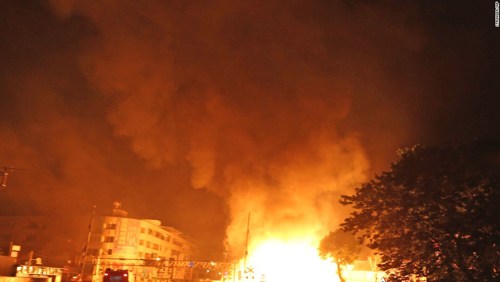 Authorities suspect ethylene, propane or butane in the explosions. There are several petrochemical factories in the region.