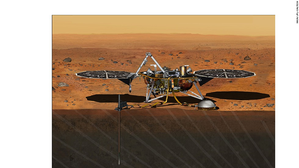 The InSight lander scheduled to launch in 2016 won't rove but will stand still and drop a probe into the ground to explore Mars' core.