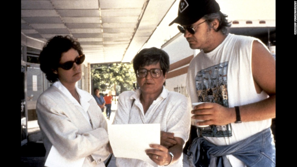 "Prejean on the set with Susan Sarandon and Tim Robbins during the filming of ""Dead Man Walking."""