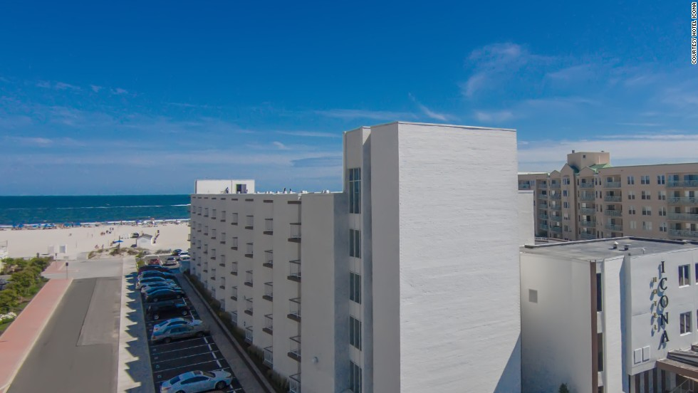Hotel Icona at Diamond Beach, New Jersey, breathes new life into a former 1970s-era hotel. Guests have access to a 425-foot private beach.
