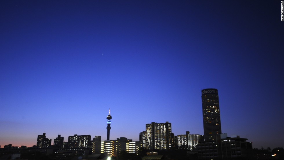 A general view of the Johannesburg skyline. South Africa ranked as the second most prosperous country in Africa, with nearly 40% of people surveyed saying it's a good time to find a job.