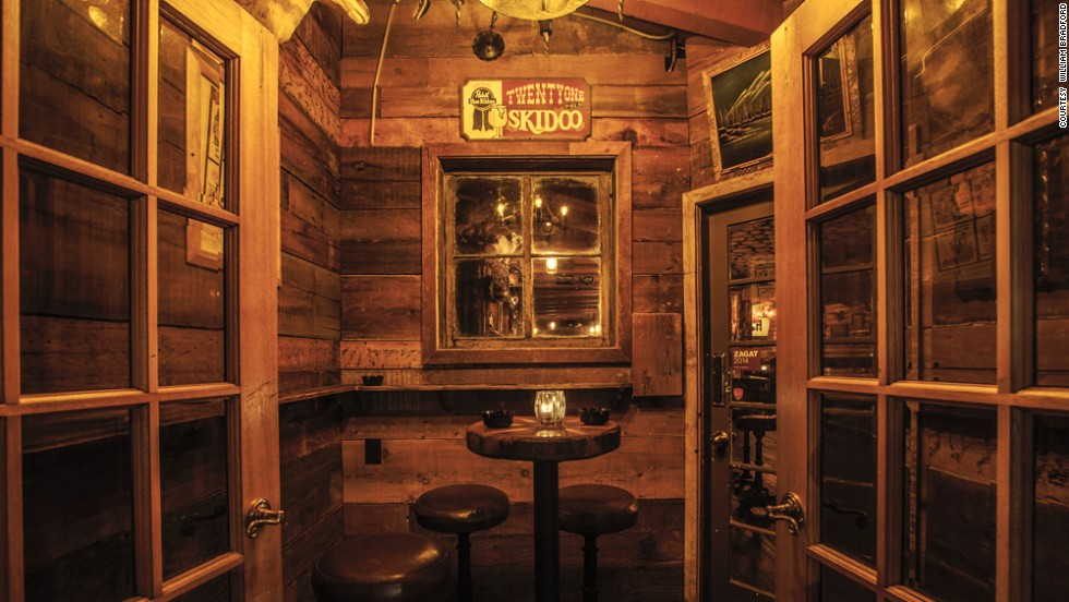 Inside The Bigfoot Lodge, wait staff hustle around in flannel serving drinks called Girl Scout Cookie and Backwoods Banana Hammock.