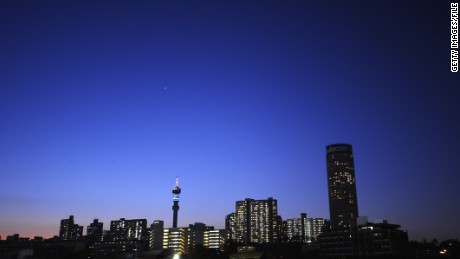 Caption:A general view of the Johannesburg skyline is seen from Ellis Park stadium in Johannesburg during the 2010 World Cup match between Argentina and Nigeria on June 12, 2010. AFP PHOTO/GIANLUIGI GUERCIA (Photo credit should read GIANLUIGI GUERCIA/AFP/Getty Images)