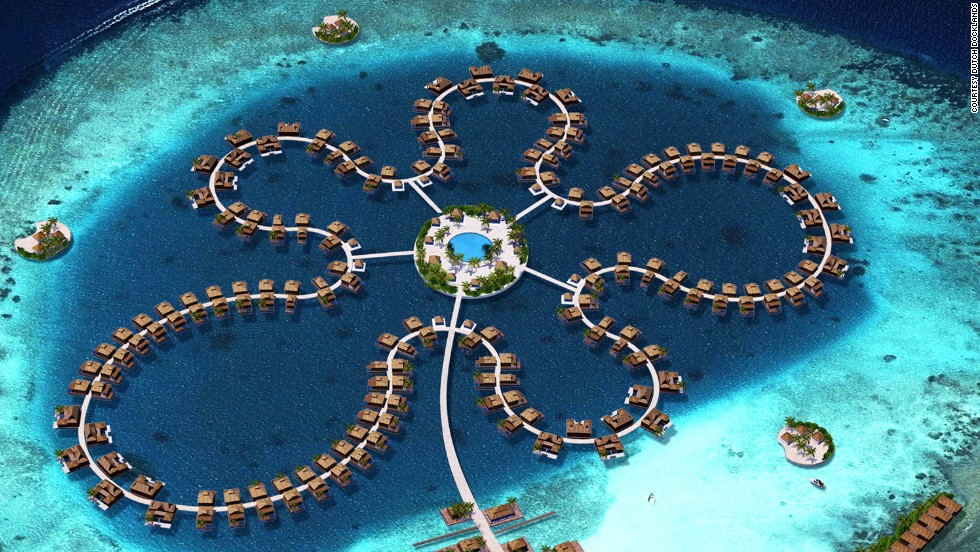 Krystall's designers, Dutch Dockyards, are already involved in constructing Ocean Flower, a floating resort off the coast of the Maldives.