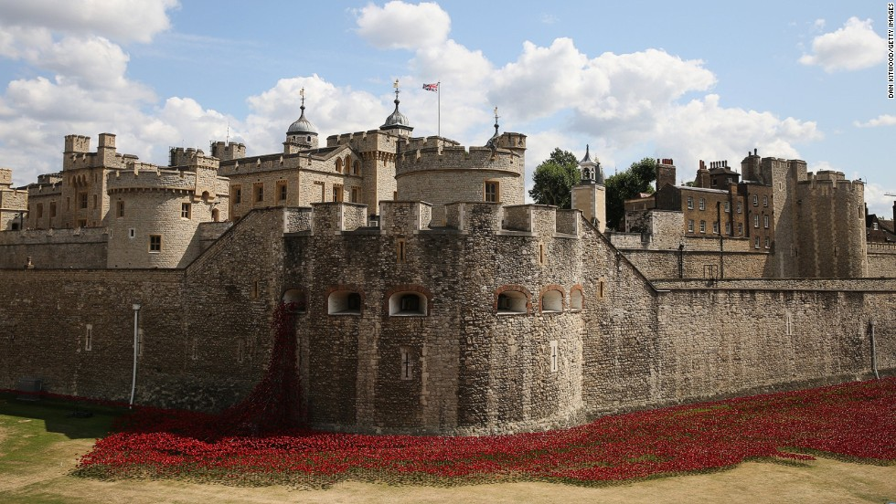 The Tower of London is marking the 100th anniversary of the outbreak of World War I with a dramatic art installation using thousands of ceramic poppies surrounding the battlements. Poppies have long been used as a symbol to remember those killed in conflict, particularly during the two world wars that consumed Europe during the last century.