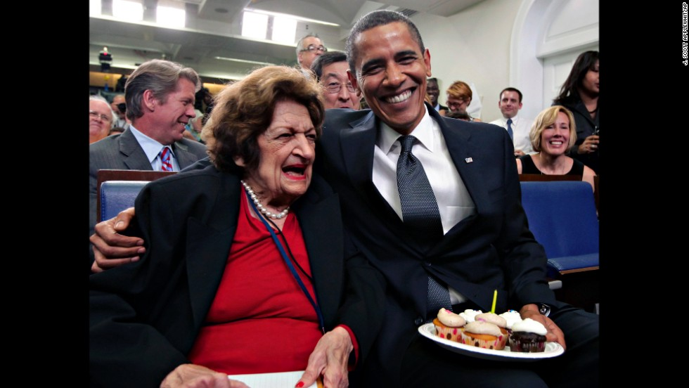 Reporter Helen Thomas celebrates her 89th birthday with President Barack Obama, celebrating his 48th birthday, at the White House.