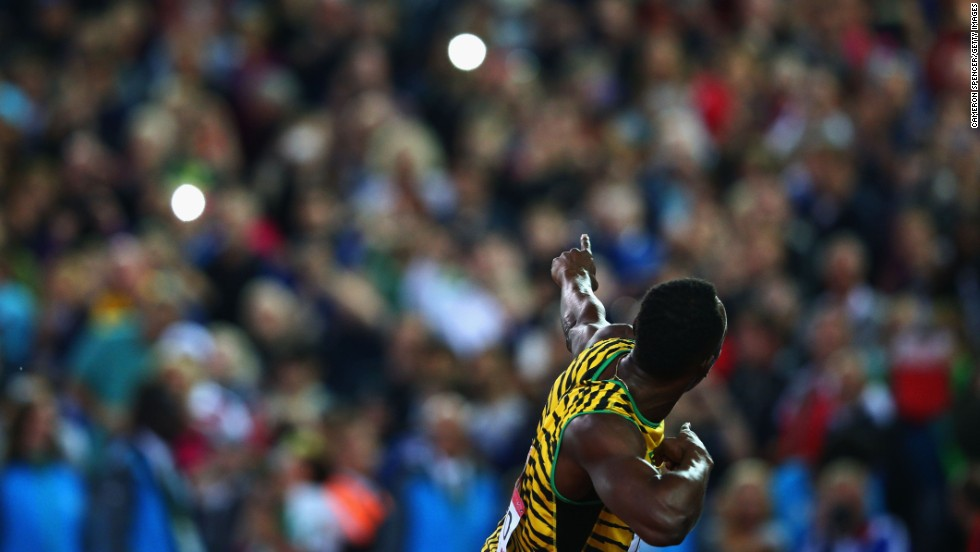 Jamaican sprinter Usain Bolt celebrates winning gold in the 4x100-meter relay Saturday, August 2, at the Commonwealth Games in Glasgow, Scotland.