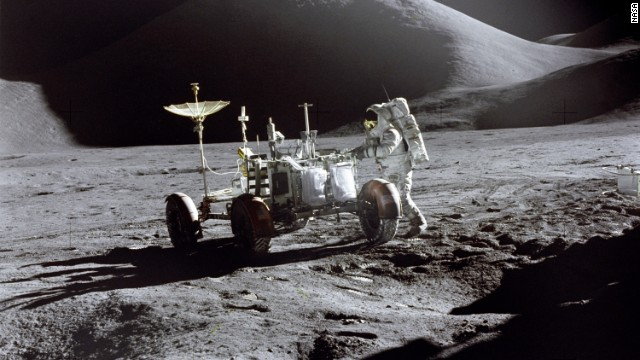 Apollo 15 astronaut James Irwin with the first lunar rover.