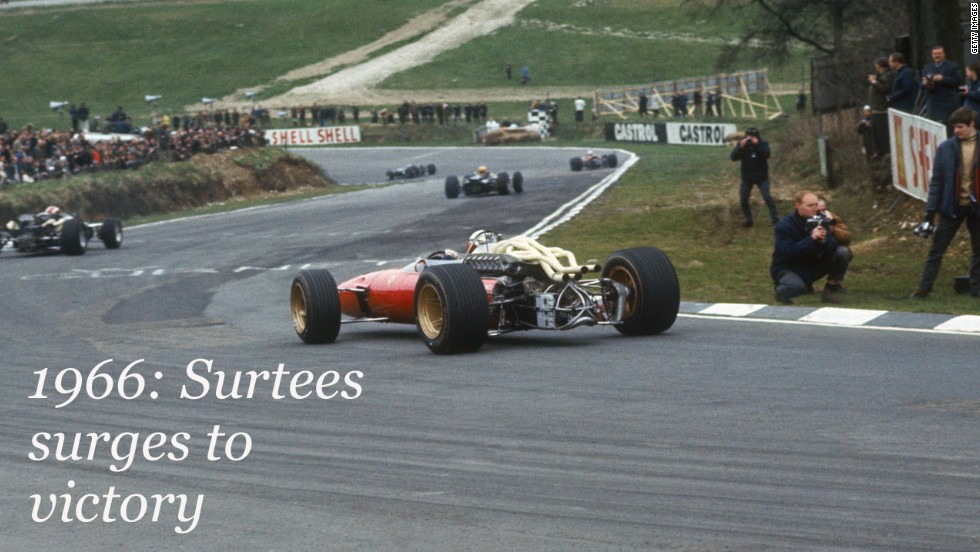No constructor has claimed more F1 Spa victories than Italy's famous Ferrari, which has 16 in total. <br /><br />Here, photographers get up close and personal with British driver John Surtees in the Ferrari 312 as he surges to victory in 1966.