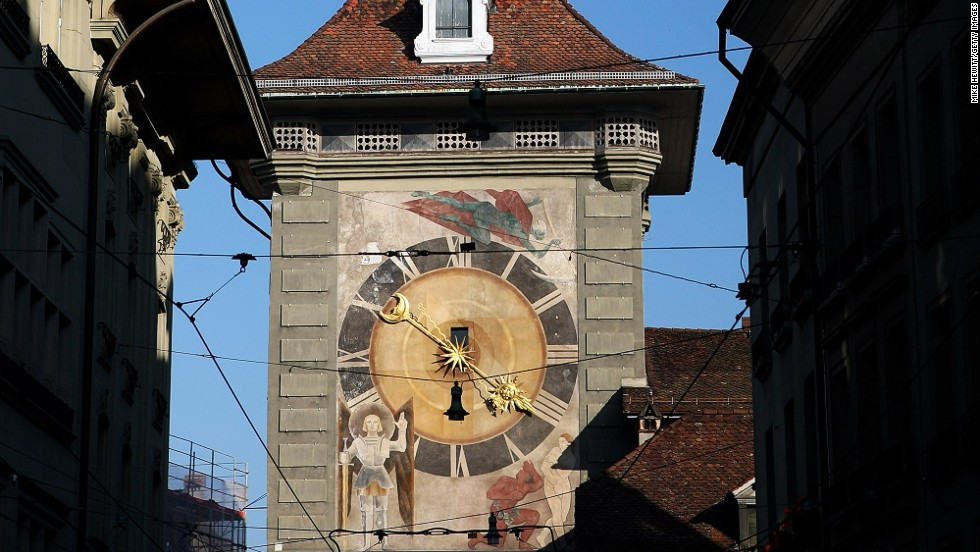 "<strong>Zytglogge Tower, Bern, Switzerland</strong><br /><strong>Completed: </strong>1405 (rebuilt in 1527)<br /><strong>Height: </strong>16 meters (52 feet)<br /><strong>Observation deck</strong> <br />A 50-minute tour ($16) starts daily at 2:30 p.m. <a href=""http://www.bern.com/en/activities/city-tours/public-city-tours/clock-tower-tour"" target=""_blank"">Reservation required</a>.<strong><br />Special features</strong><br />Figurines next to the clock rotate, and every hour a larger figure appears to hammer the gilded bell that rings at the top of the tower. Apart from time, the astronomical clock also features a lunar dial, 12 zodiac signs, a calendar dial and a planisphere (star chart).<br /><strong>Historic uses</strong><br />The Clock Tower served as Bern's first western city gate during the city's expansion around 1220. It was transformed briefly into a prison before becoming a clock tower.<br /><em><a href=""http://www.bern.com/en/activities/city-tours/public-city-tours/clock-tower-tour"" target=""_blank"">Bern's Clock Tower<em></em></a> (Zytglogge), Bahnhofplatz 10a, 3011 Bern, Switzerland</em>"