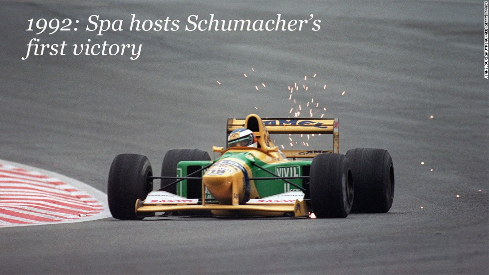 Schumacher's debut at Spa, however, was one to forget. He lasted just one lap with the Jordan team in 1991, but he enjoyed more success at the following year's race. <br /><br />After a controversial move to Benetton, the young German claimed the first of his record 91 career wins, excelling in the wet conditions.<br /><br />The 1992 event would also be remembered for Senna stopping during qualifying to come to the aid of Ligier-Renault driver Erik Comas, who had passed out in his car after crashing.