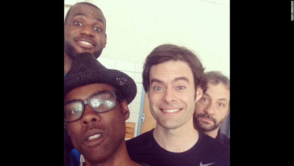 "From left, basketball star LeBron James, comedian Chris Rock, actor Bill Hader and director Judd Apatow pose for a selfie on the set of the upcoming film ""Trainwreck."" James posted this <a href=""http://instagram.com/p/rKOIAyiTPP/"" target=""_blank"">to his Instagram account</a> on Friday, August 1. ""LaughsAllDay"" was among the many hashtags."