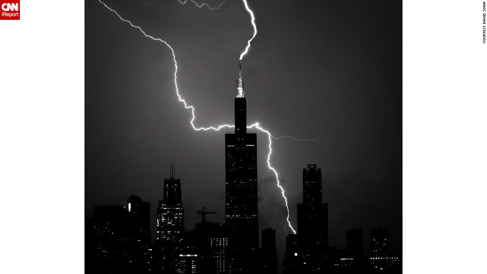 "Shooting on a friend's balcony, <a href=""www.instagram.com/dsowaphoto"" target=""_blank"">David Sowa</a> used a 15-second exposure on his Nikon and an Instagram filter to capture this image of lightning striking the Willis Tower in Chicago in July."