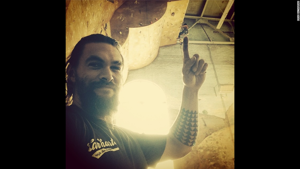 """Actor Jason Momoa posted a <a href=""""http://instagram.com/p/rP7XCnPHL5/"""" target=""""_blank"""">behind-the-scenes photo</a> Sunday, August 3, while on the set of a commercial for clothing company Carhartt."""