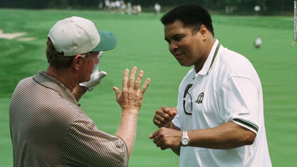 "The greatest meets the greatest. <br /><br />This image of Nicklaus and Muhammad Ali, two legends of golf and boxing respectively, was taken nearly 20 years ago at Valhalla.<br /><br />""It was just a fantastic treat to witness this moment,"" Cannon says. <br /><br />""Ali, a native of Louisville, came out to meet Jack at Valhalla. It's funny how my 100th major will be at Valhalla 20 years after this moment."""