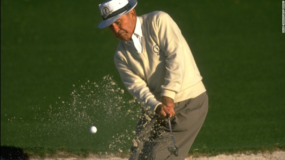 "This image from the 1984 captures Gene Sarazen -- a winner of seven majors between 1922 and 1935 who Cannon credits with effectively inventing the sand iron. He was playing in the annual par-three contest at Augusta, which takes place each year and acts as a curtain raiser for the Masters.<br /><br />""(The nine-hole exhibition) was a great tradition at Augusta that preceded the current tradition of Jack Nicklaus, Gary Player and Arnold Palmer hitting the ceremonial tee shots from the first tee to start the tournament each year,"" Cannon says. <br /><br />""I loved the idea of nine holes, watching legends of the game -- a pity this is not the case with Nicklaus, Player and Palmer. How much fun that would be?"""