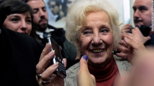 Estela Carlotto smiles after announcing the recovery of her grandson Guido --the son of her daughter Laura missing in 1976 and the 114th person identified by the group-- in Buenos Aires on August 5, 2014.