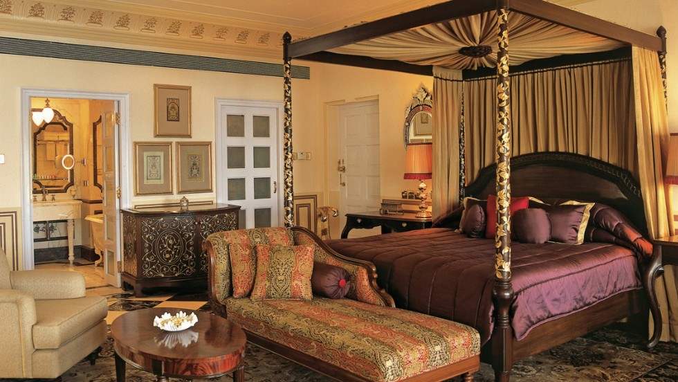 The white Taj Lake Palace in India, which came in tenth place, offers every guest opulent quarters and a water view.