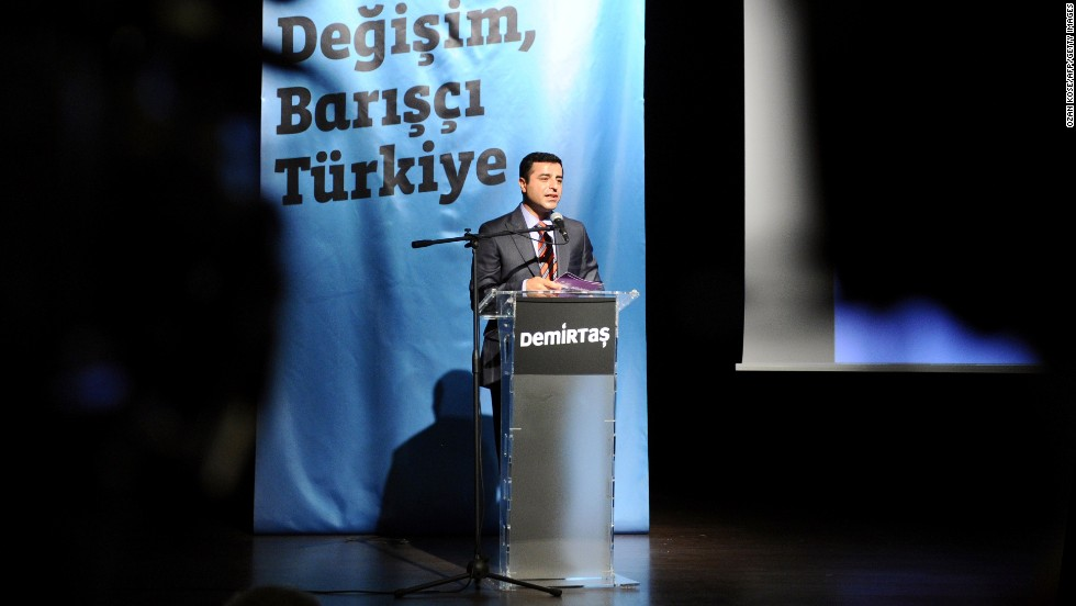 Demirtas speaks during a campaign rally Tuesday, July 15, in Istanbul.
