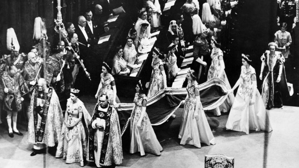 Queen Elizabeth II walks to the altar during her coronation ceremony on June 2, 1953.