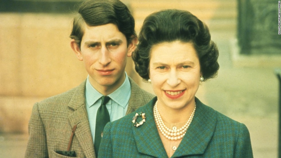 Queen Elizabeth II with her oldest son, Prince Charles, in 1969.