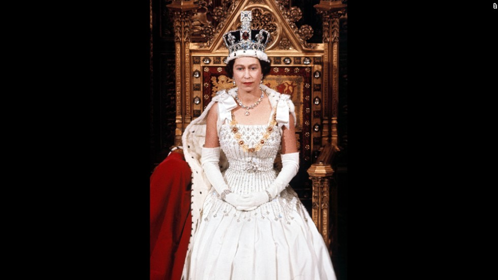 Queen Elizabeth II is seen during the State Opening of Parliament in April 1966.