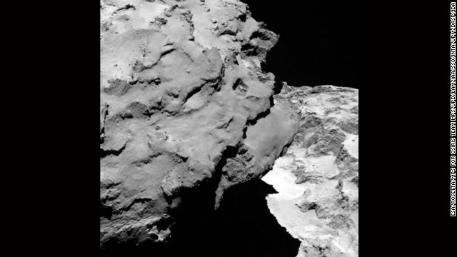 Close-up detail of comet 67P/Churyumov-Gerasimenko.