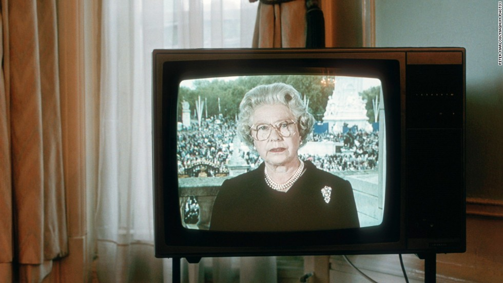 The Queen addresses the nation on the night before Princess Diana's funeral in 1997.