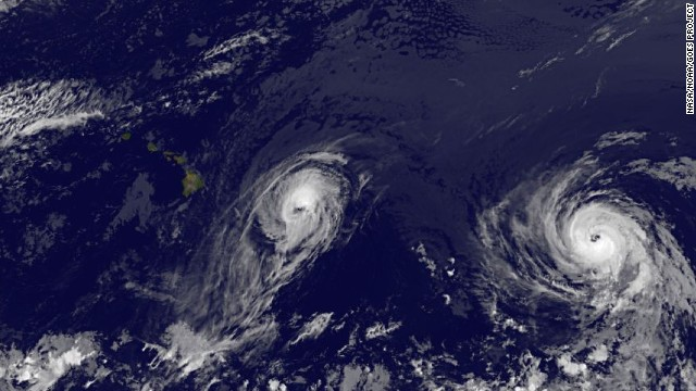 Two hurricanes spinning toward Hawaii