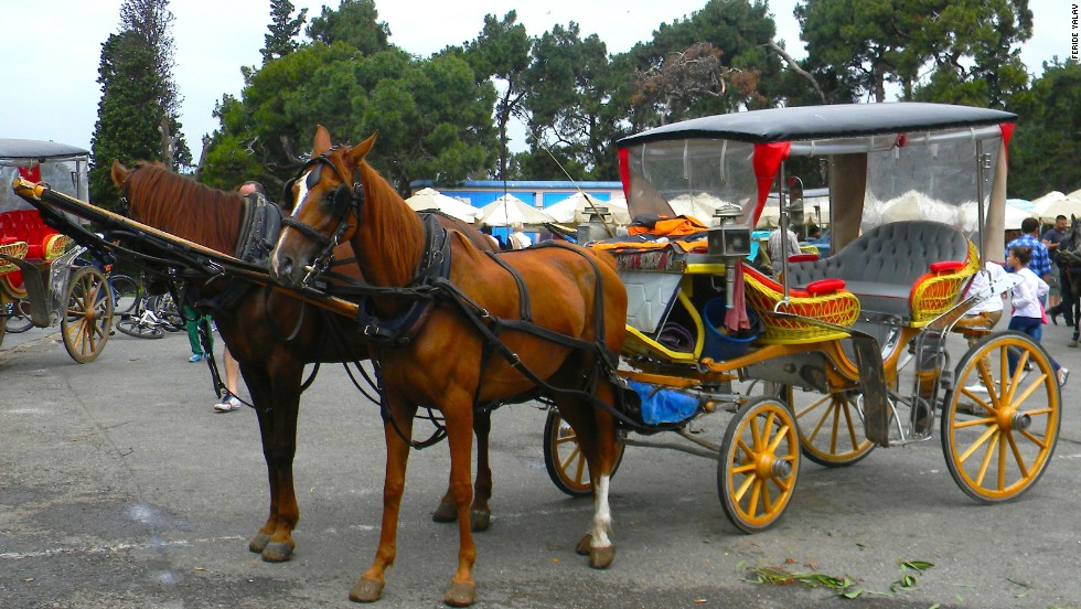 Horse-drawn carriages known as fayton are a popular way of getting around Buyukada and Heybeliada islands.