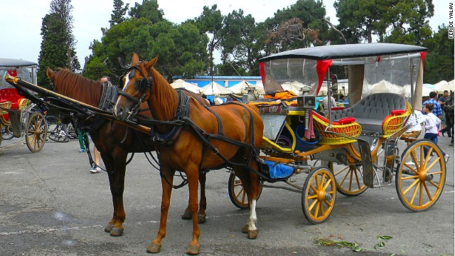 Horse-drawn carriages tour the islands.