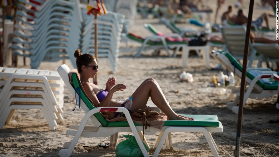 Ghosts of the past. The loungers, shown here in this 2013 image, have been banished. Beach-goers lie on towels now.
