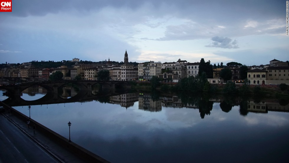 "Michelle McLemore fell in love with how serene the <a href=""http://ireport.cnn.com/docs/DOC-1149877"">Arno River</a> looked from her Florence, Italy, hotel balcony. But the river hasn't always been so calm and peaceful. Its floodwaters devastated Florence in 1966, damaging priceless works of art, books and monuments throughout the city -- not to mention killing 39 people and leaving thousands homeless."
