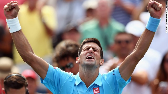 Novak Djokovic celebrates beating Gael Monfils in a second-round mini-epic at the Rogers Cup in Toronto.